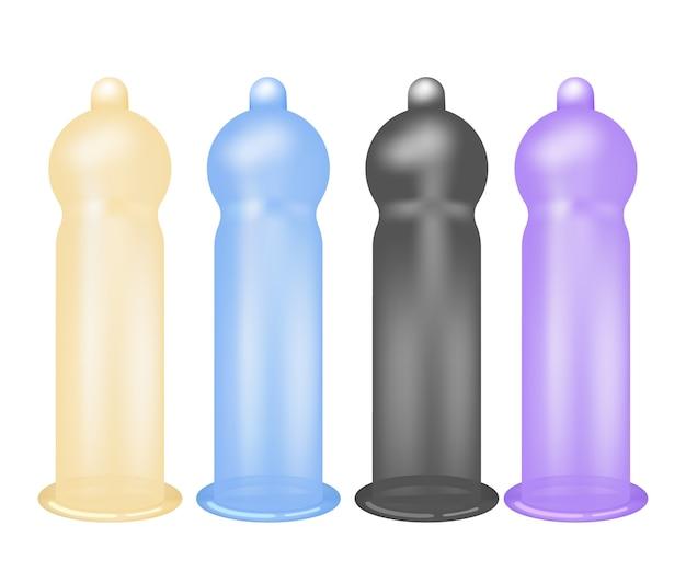 Condooms, latex voorbehoedsmiddel geïsoleerd