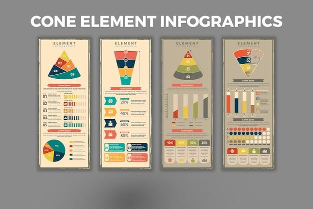 Cone element infographic-sjabloon