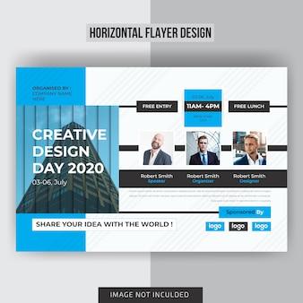 Conferentie horizontale flyer sjabloonontwerp