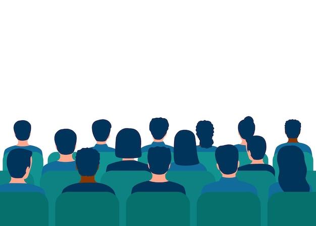 Conferentie met publiek in zaal mensen toeschouwers achteraanzicht studenten op college onderwijs