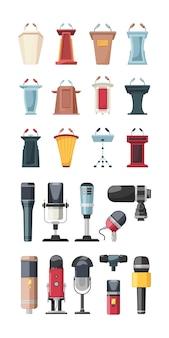 Conferentie podium. podiums voor sprekers zakelijke tribune met microfoons mode publiek vector. illustratie stage seminar en spreker, podium meeting