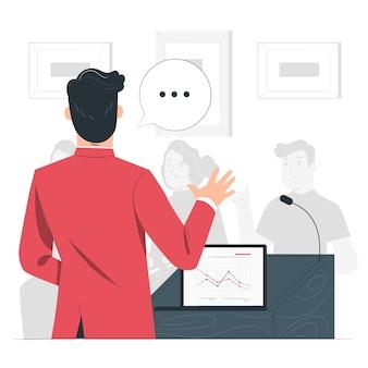 Conferentie spreker concept illustratie
