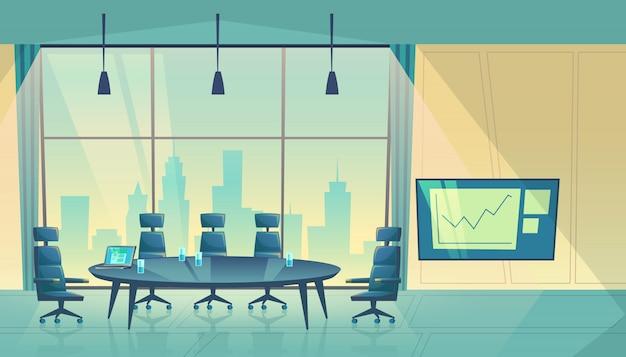 Conferentiezaal voor bedrijfsseminarie, werkproces. ruimte voor aandeelhouders in wolkenkrabber