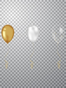 Confetti achtergrond en gouden ballonnen vectorillustraties