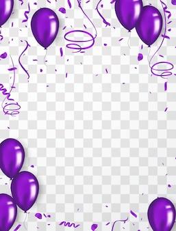 Confetti achtergrond en paarse ballonnen vectorillustraties
