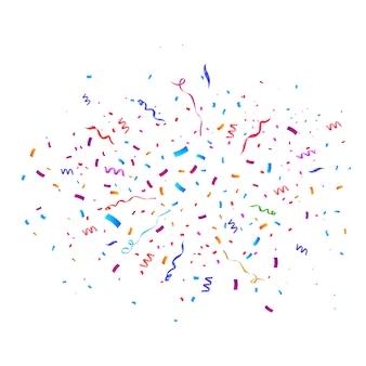 Confetti barstte explosie. vliegende linten en streamers in kleur. verjaardagsfeestje achtergrond