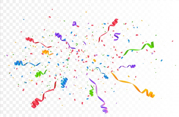 Confetti barstte explosie. vliegende linten en streamers in kleur.
