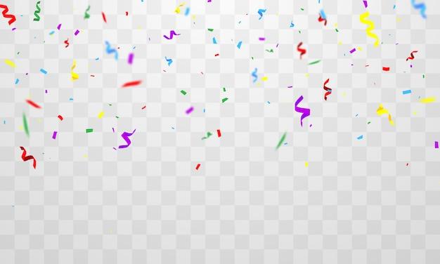 Confetti en kleurrijke linten. viering achtergrond sjabloon met
