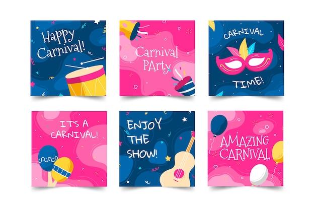 Confetti en muziekinstrumenten berichten op sociale media voor carnavalsfeest