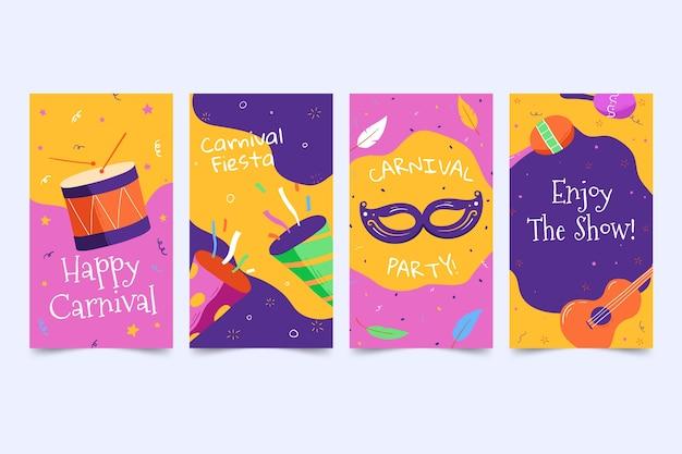 Confetti en muziekinstrumenten verhalen op sociale media voor carnavalsfeest