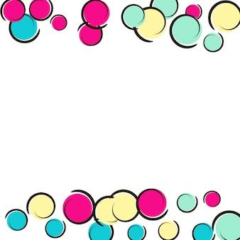 Confetti frame met komische popart polka dots.