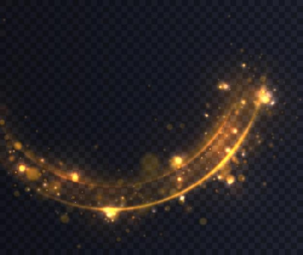 Confetti glinsterende golf. gele stofgele vonken en gouden sterren schijnen met speciaal licht.