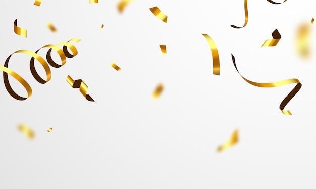 Confetti gouden linten. viering luxe groet rijke kaart.