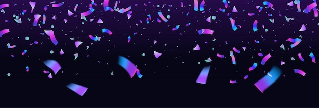 Confetti kleurrijke explosie als achtergrond. holografisch met licht glitcheffect. abstracte banner