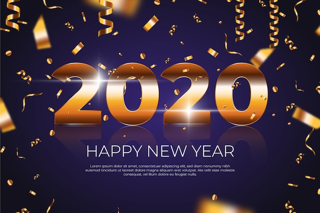 Confetti nieuwjaar 2020 achtergrond concept