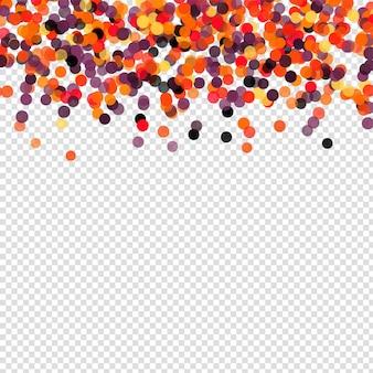 Confetti polka dot halloween achtergrond. oranje zwarte vallende papieren cirkels op transparante achtergrond. sjabloon voor ontwerp ansichtkaarten, poster, helloween uitnodiging.