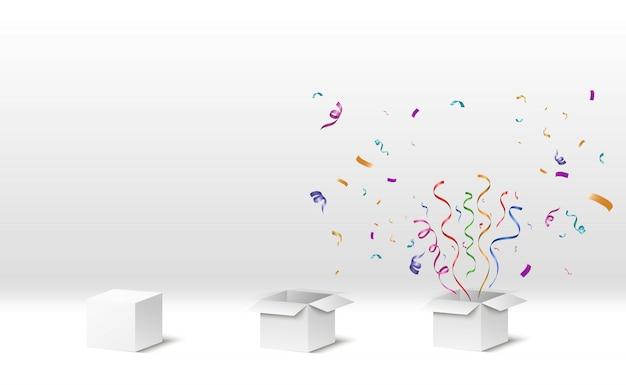 Confetti vliegt uit de doos. verrassing . illustratie