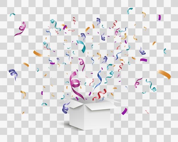 Confetti vliegt uit de doos. verrassing.