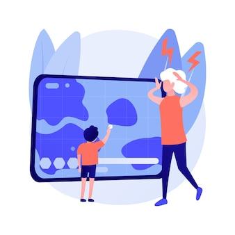 Conflict van generaties abstract concept vectorillustratie. generatieconflict, ok boomer, intergenerationele solidariteit, communicatie volwassenen en kinderen, zoon vader, opgroeien abstracte metafoor.
