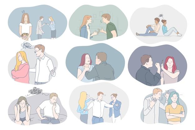 Conflicten in paar, misverstanden, problemen in communicatieconcept