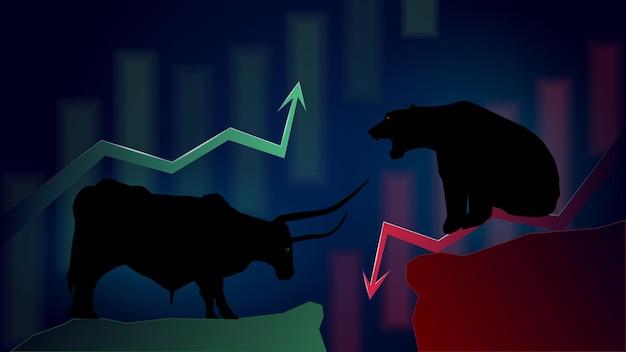 Confrontatie met bullish trend versus bearish trend met pijlen omhoog en omlaag op een donkere achtergrond. wazig japanse kaarsen op de achtergrond. vector afbeelding.