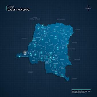 Congo kaart met blauwe neonlichtpunten