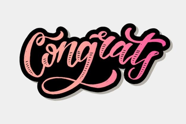 Congrats belettering kalligrafie penseel tekst vakantie sticker