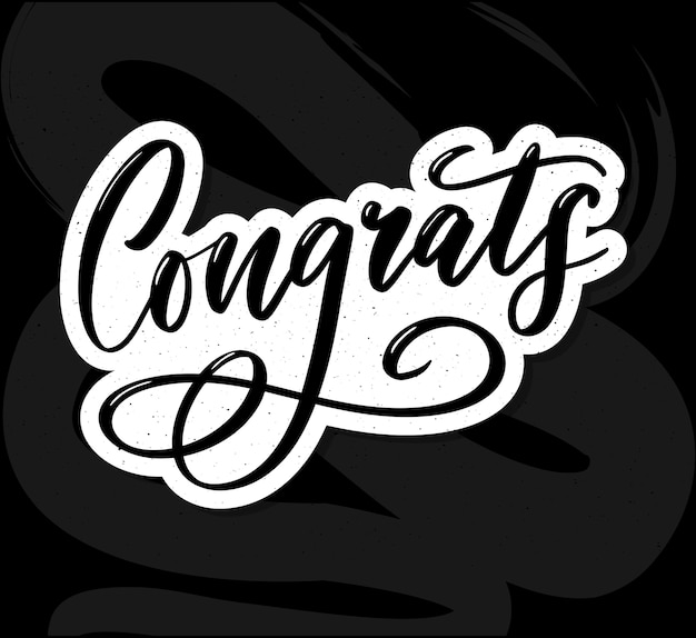 Congrats belettering kalligrafie tekstpenseel