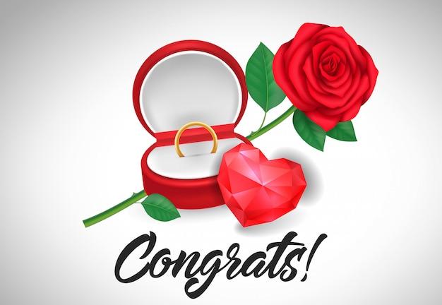 Congrats belettering met trouwring Premium Vector