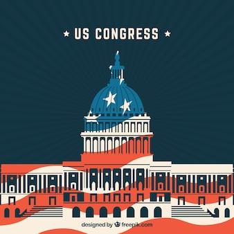 Congresgebouw van de verenigde staten in vlakke stijl