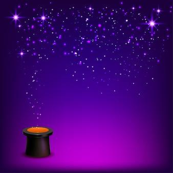 Conjurer hoed met confetti op een blauwe achtergrond.