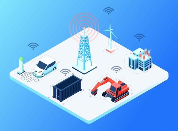 Connectiviteit tussen cellulaire toren met verschillende apparaten, isometrische illustratie