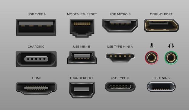 Connector en poorten. usb type a en type c, videopoorten handgetekendmi dvi en displayport, audio coaxiaal, bliksemschicht