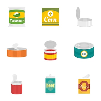 Conserve voedsel icon set, vlakke stijl