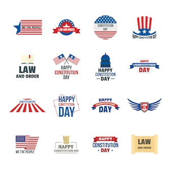 Constitution day usa logo-pictogrammen instellen