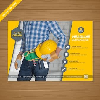 Constructie dekking flyer ontwerpsjabloon