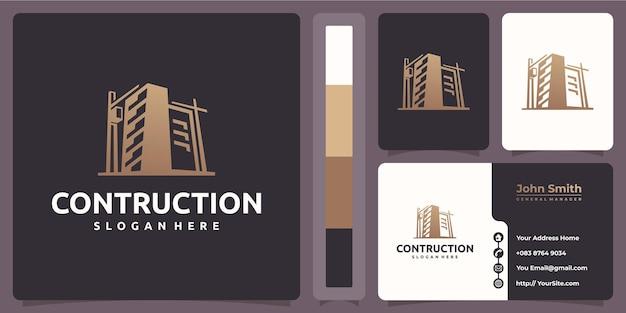 Constructie gebouw logo met sjabloon voor visitekaartjes