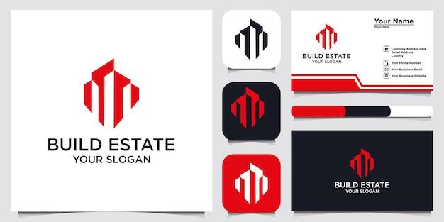 Constructie logo-ontwerp, met het concept van een gebouw en een visitekaartje