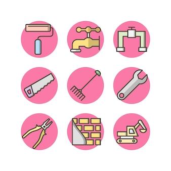 Constructie pictogrammen voor persoonlijk en commercieel gebruik
