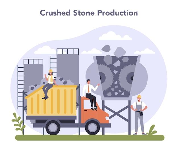 Constructieve materiaalproductie-industrie. productie van steenslag.