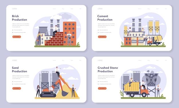 Constructieve materiaalproductie-industrie webbanner of bestemmingspagina-set
