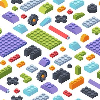 Constructor kinderen isometrische naadloze patroon. creativiteit tegels en onderdelen assemblage geometrische speelgoedmodellen gekleurde stroken verschillende vormen kinderen brede smalle constructeur ontwikkeling.