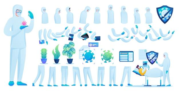 Constructor voor het maken van een dokter in beschermend pak n 3. creëer je eigen dokter om de epidemie te bestrijden. platte 2d vectorillustratie.