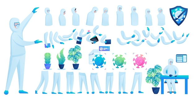 Constructor voor het maken van een dokter in beschermend pak n 5. creëer je eigen dokter om de epidemie te bestrijden. platte 2d vectorillustratie.