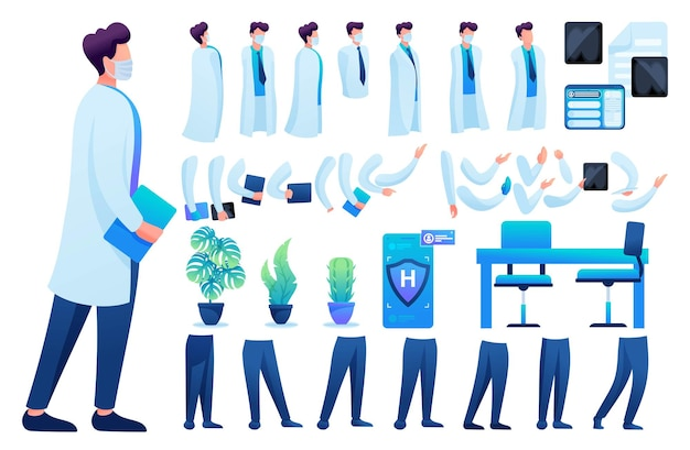 Constructor voor het maken van een dokter n 8. creëer je eigen dokterspersonage met een set handen en voeten. platte 2d vectorillustratie.