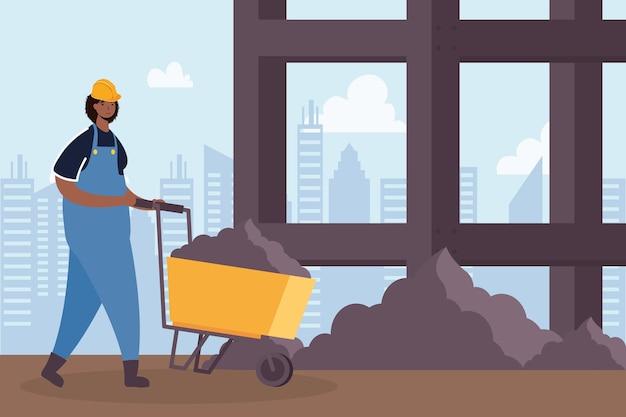 Constructor werknemer met kruiwagen karakter scène vector illustratie ontwerp