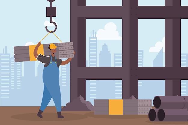 Constructor werknemer tillen metalen planken characterdesign scène vector illustratie