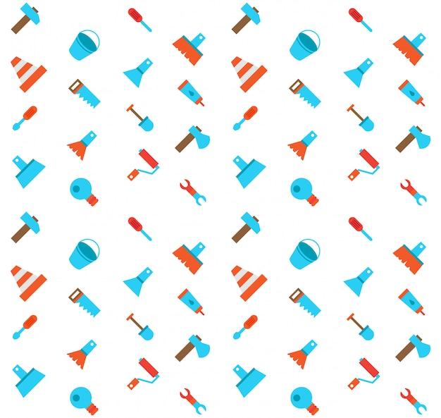 Construerend en bouwend pictogrammen naadloos patroon