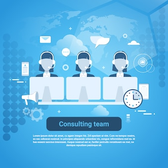 Consulting team technische ondersteuning sjabloon webbanner met kopie ruimte