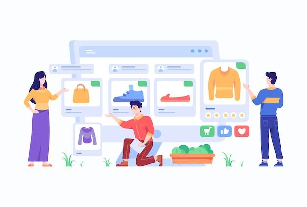 Consument kiest en koopt modeartikelen